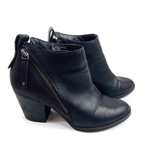 DV Black Faux Leather Side Zipper Heeled Booties